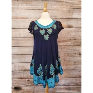 NWT Vintage NF Boho Navy Embroidered Tie Die Dress